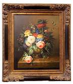 VASE OF FLOWERS OIL ON CANVAS PAINTING