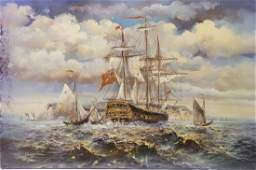 OIL PAINTING ON CANVAS OF SHIPS