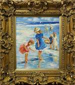 OIL ON CANVAS PAINTING OF CHILDREN ON THE BEACH