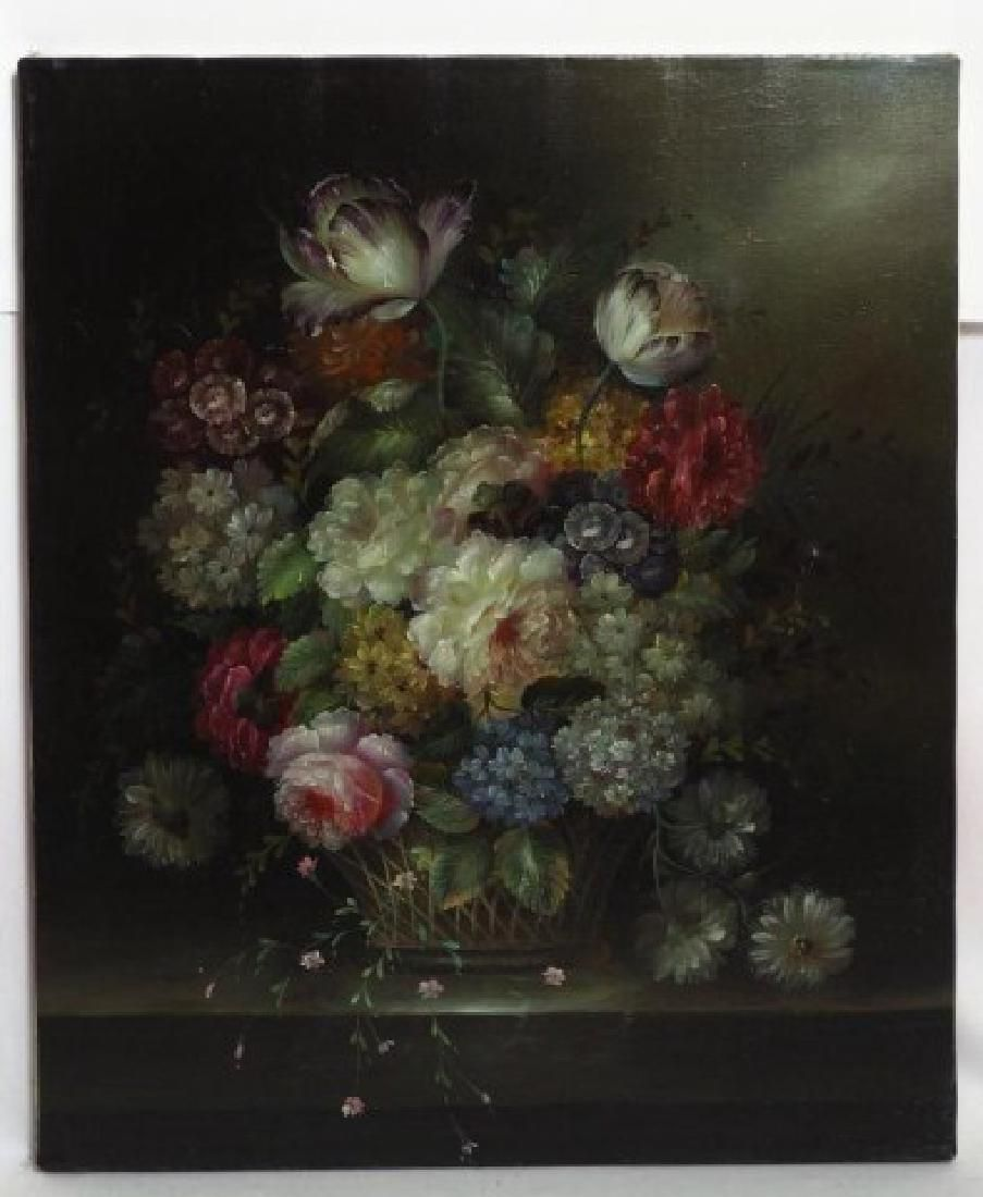 LARGE VASE OF FLOWERS OIL ON CANVAS PAINTING