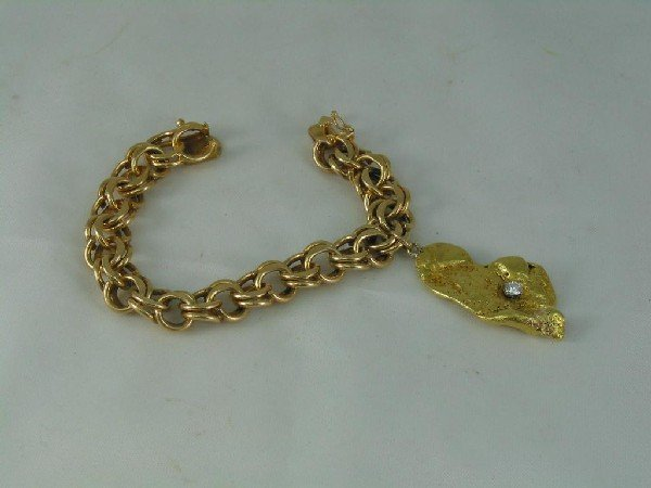 118: Bracelet, 14K, Double Link Charm