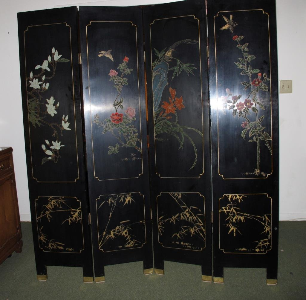 Vintage Lacquer Oriental Screen, 4 Panels - 10