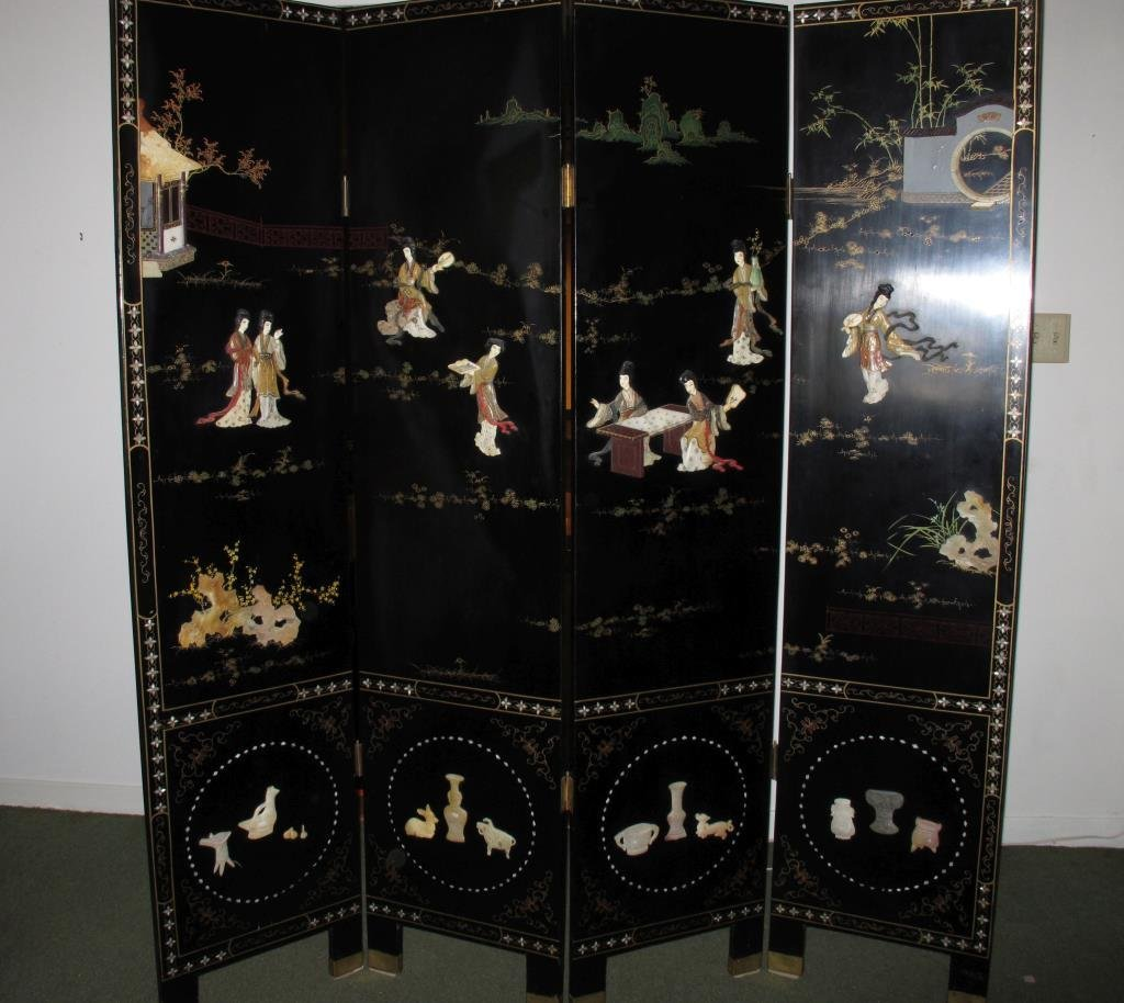Vintage Lacquer Oriental Screen, 4 Panels