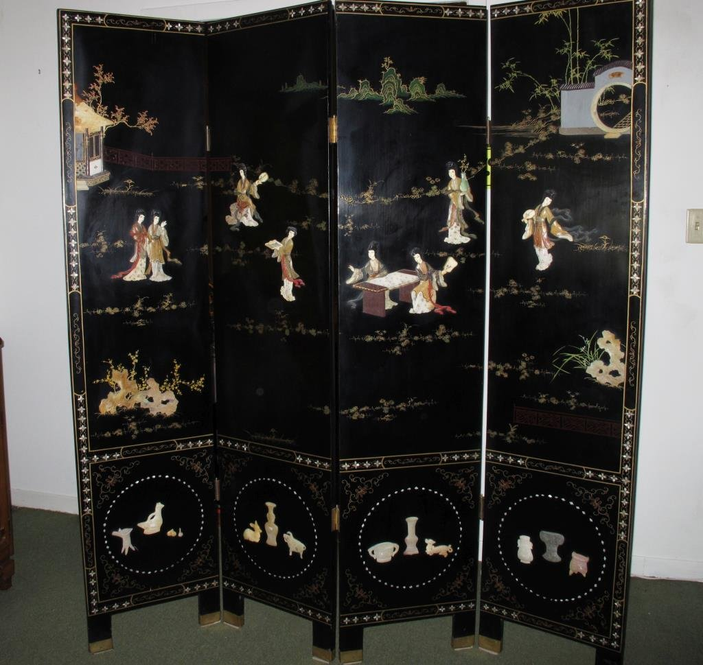 Vintage Lacquer Oriental Screen, 4 Panels - 4