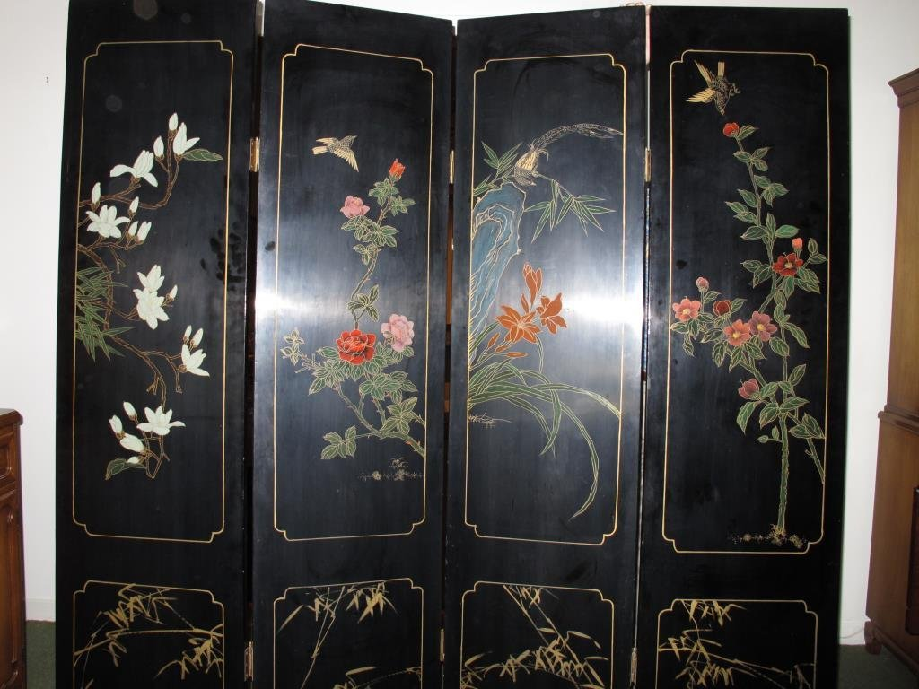 Vintage Lacquer Oriental Screen, 4 Panels - 8