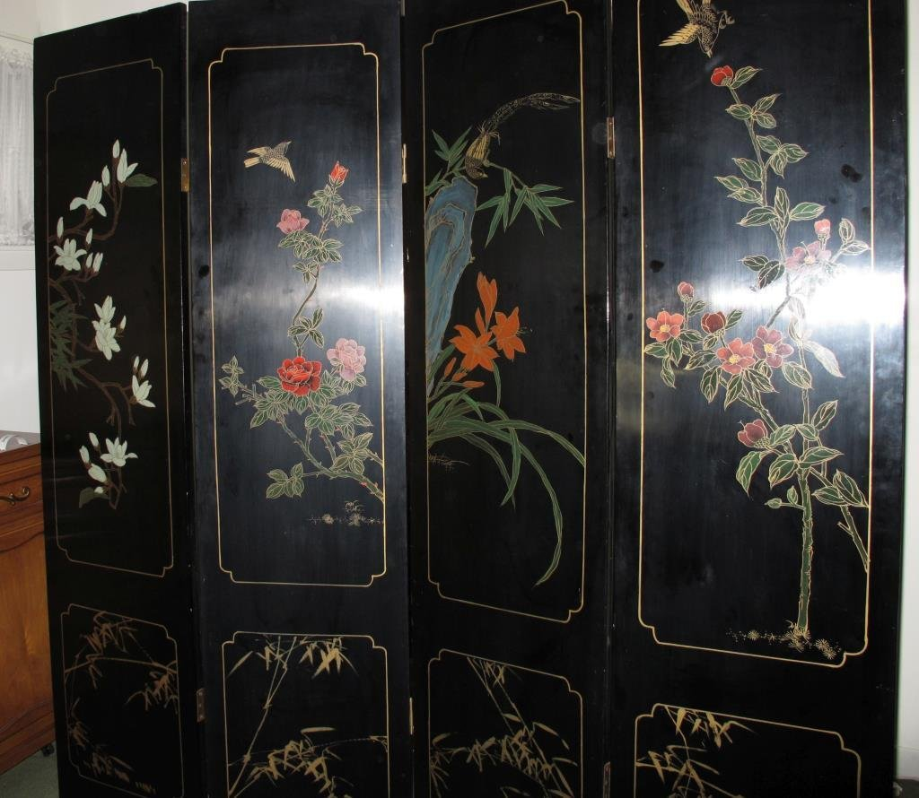 Vintage Lacquer Oriental Screen, 4 Panels - 9