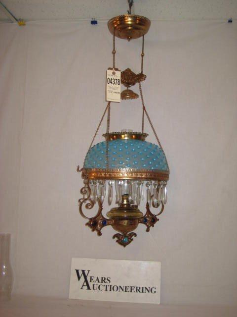 1: Prism ring hanging lamp brass jeweled frame blue hob
