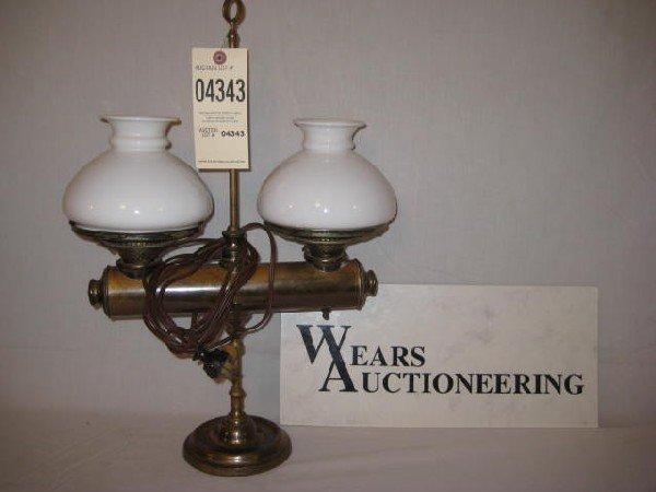 "2:  electrified dbl student lamp 6"" log brass"