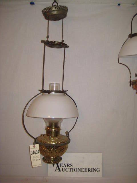 3: Store lamp brass font white shade iron frame