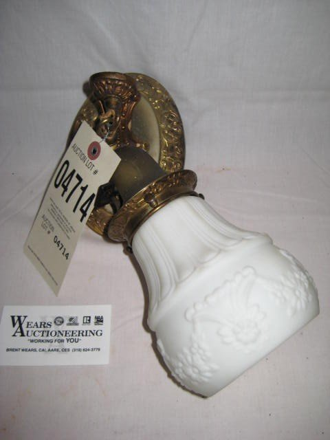 9: Wall sconce electrified milk glass shade