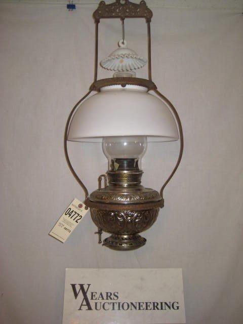 10: Hanging store lamp cast iron white bristol shade ni