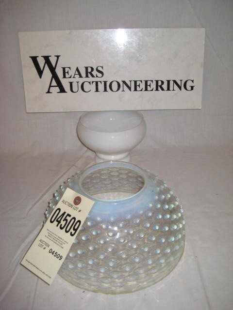 """18:  10"""" hanging lamp shade opalescent hobnail bottom r"""