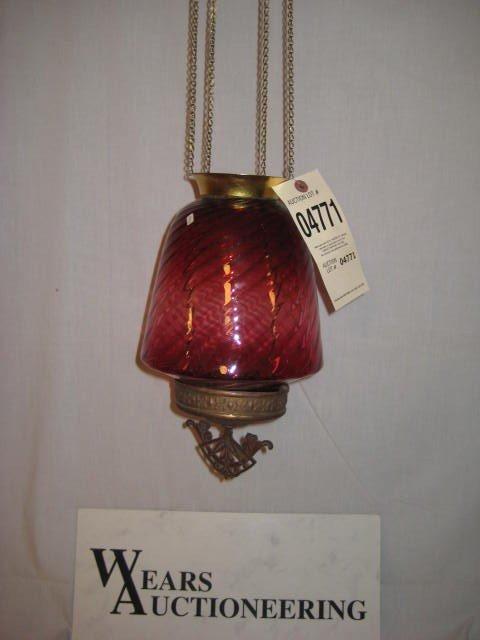 24: Hanging hall lamp brass cranberry swirl shade
