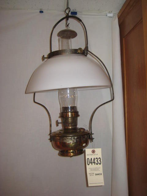 362: Aladdin hanging lamp iron frame brass font white s