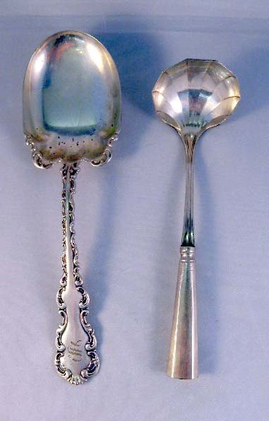 4: AN ENGLISH STERLING SILVER MONOGRAMED SERVING SPOON