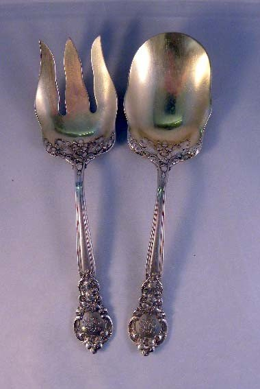 5: A PAIR OF ENGLISH STERLING SILVER MONOGRAMED SERVING