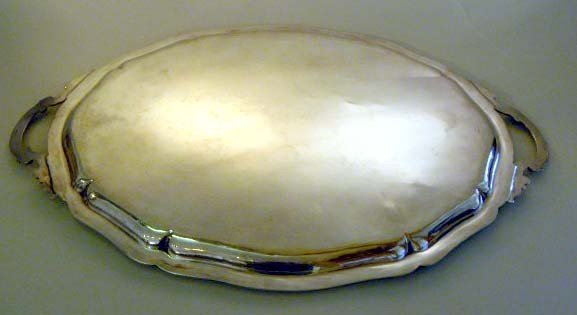 30: A STERLING SILVER SERVING TRAY WITH HANDLES a centr - 4