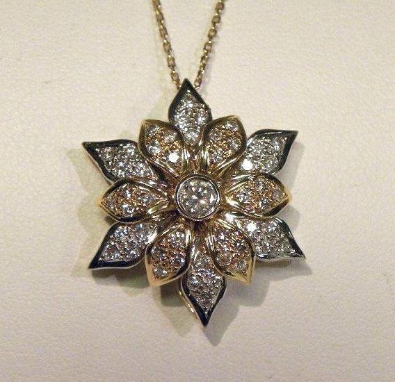 Exquisite 18k Diamond Flower pendant