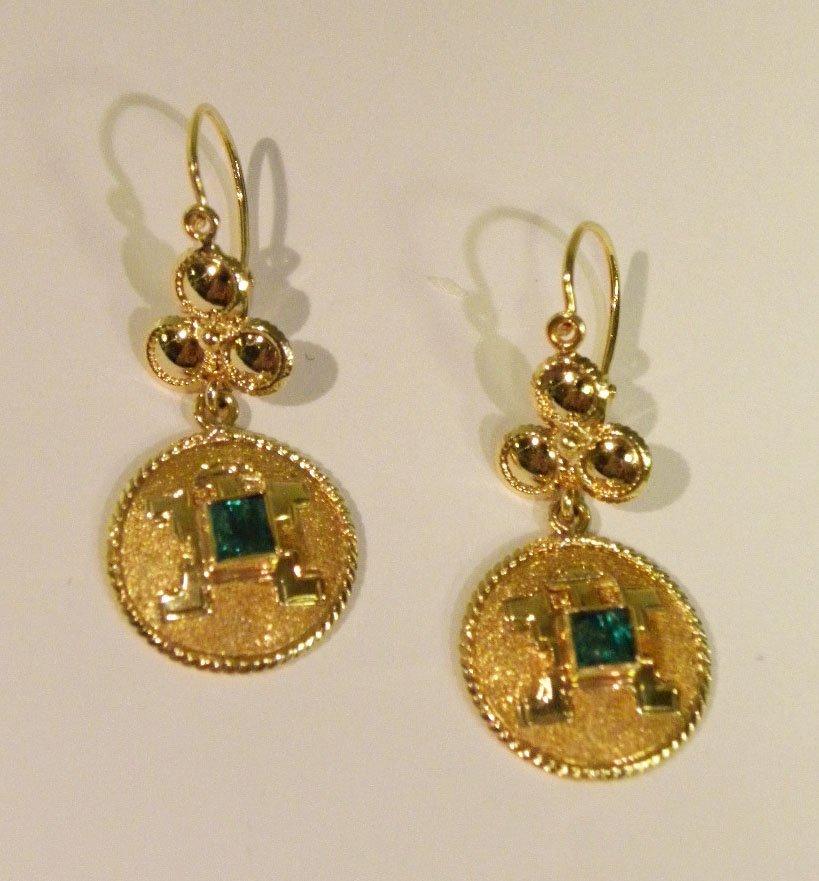 Pair of Asian themed gold dangle earrings