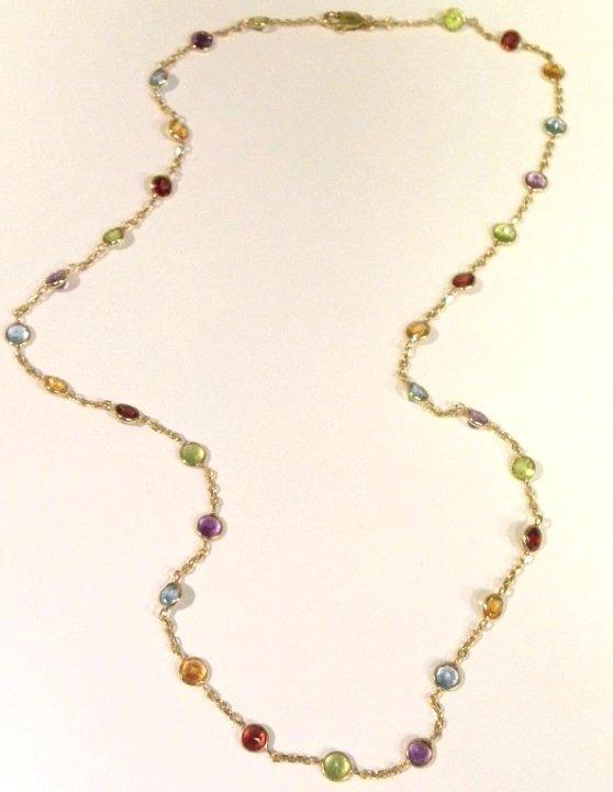 Gold multi-color gemstone necklace