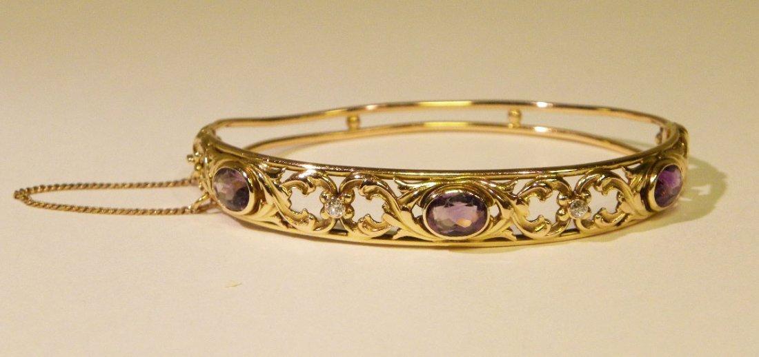 bangle bracelet featuring amethysts & diamonds