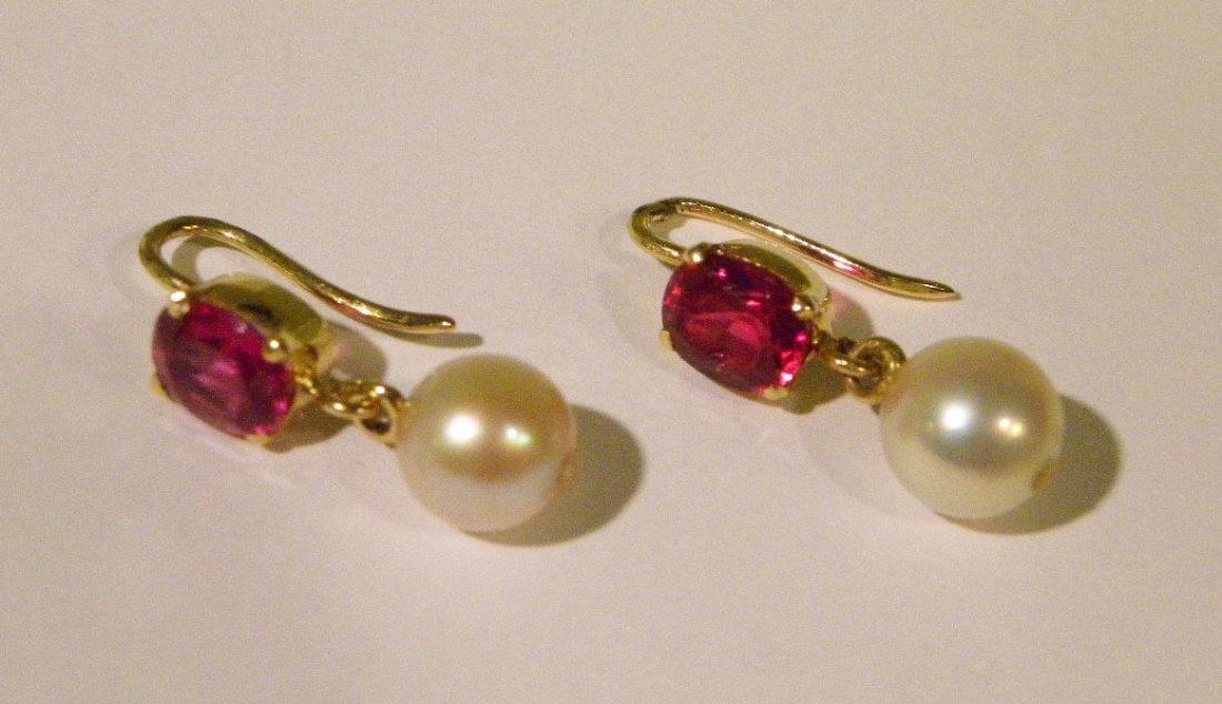 Handmade yellow gold ruby & pearl earrings