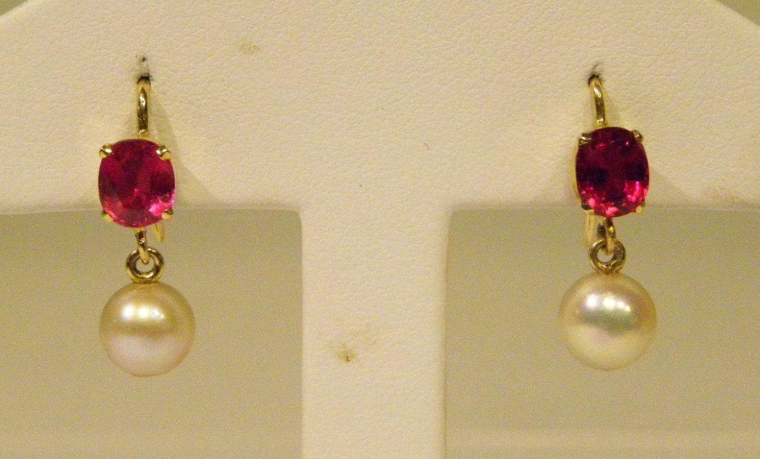 Handmade yellow gold ruby & pearl earrings - 2