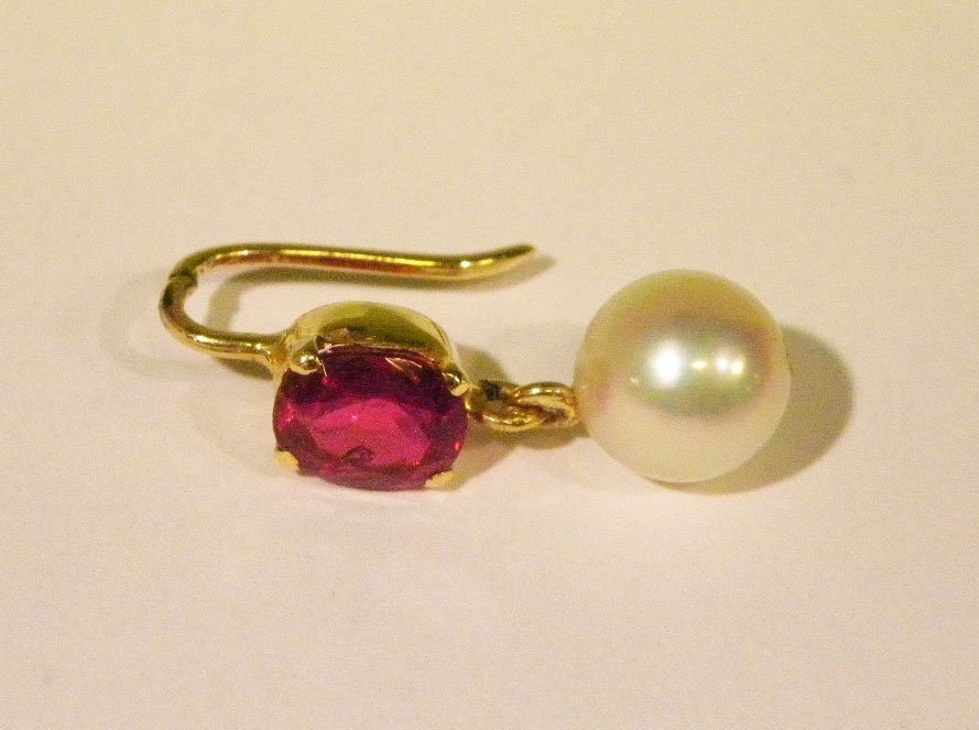 Handmade yellow gold ruby & pearl earrings - 3