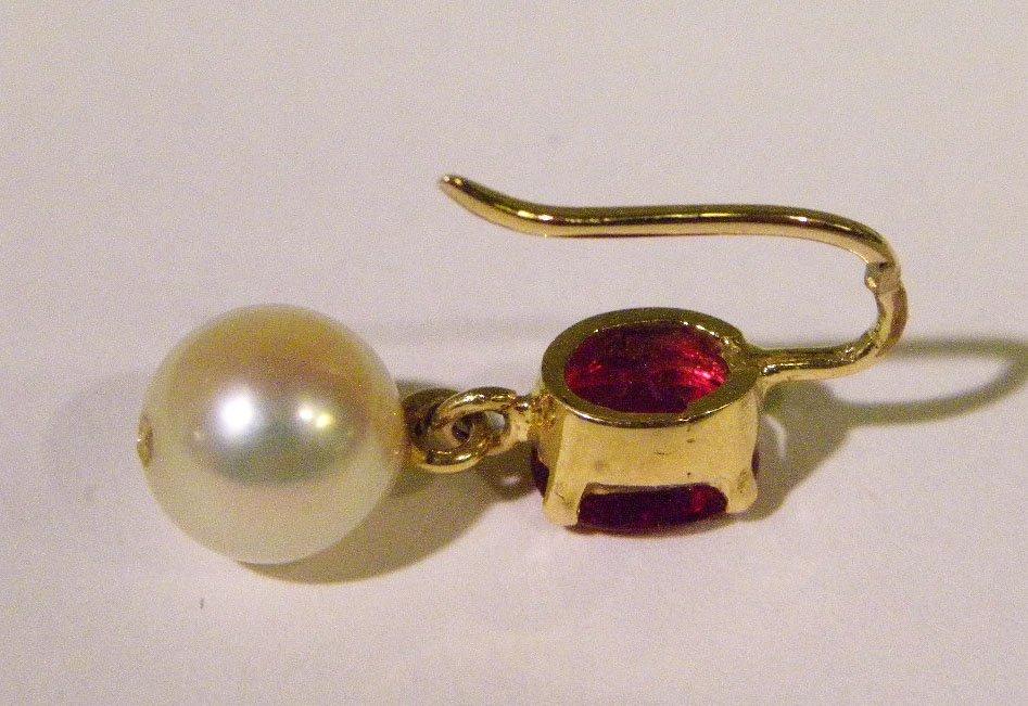 Handmade yellow gold ruby & pearl earrings - 4