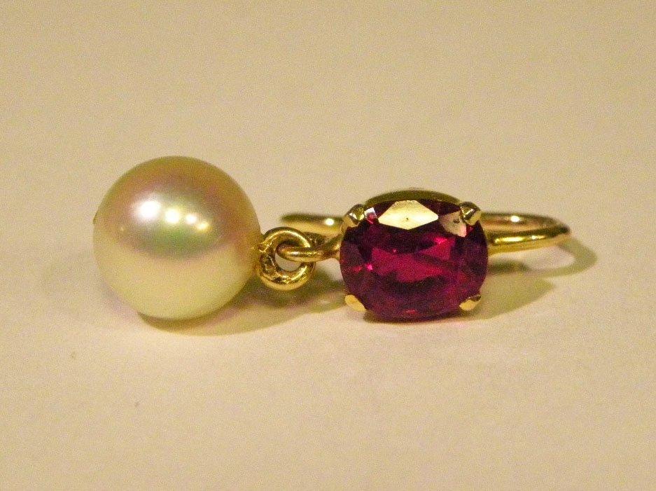 Handmade yellow gold ruby & pearl earrings - 5