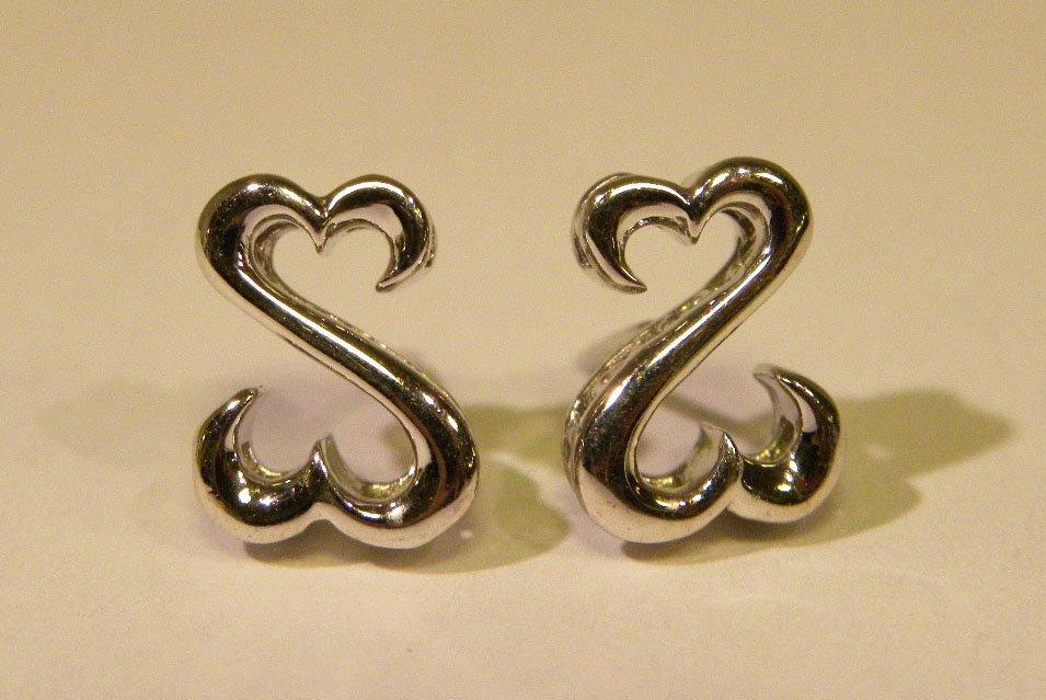 """Sterling double """"open heart"""" stud earrings"""