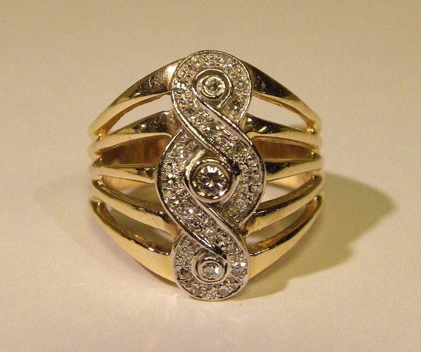 Swirl style 14k yellow & white gold diamond ring