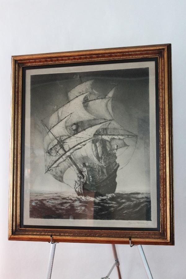 "115: W. Ritschel (German 1866) etching Ship - 30.5""x26."