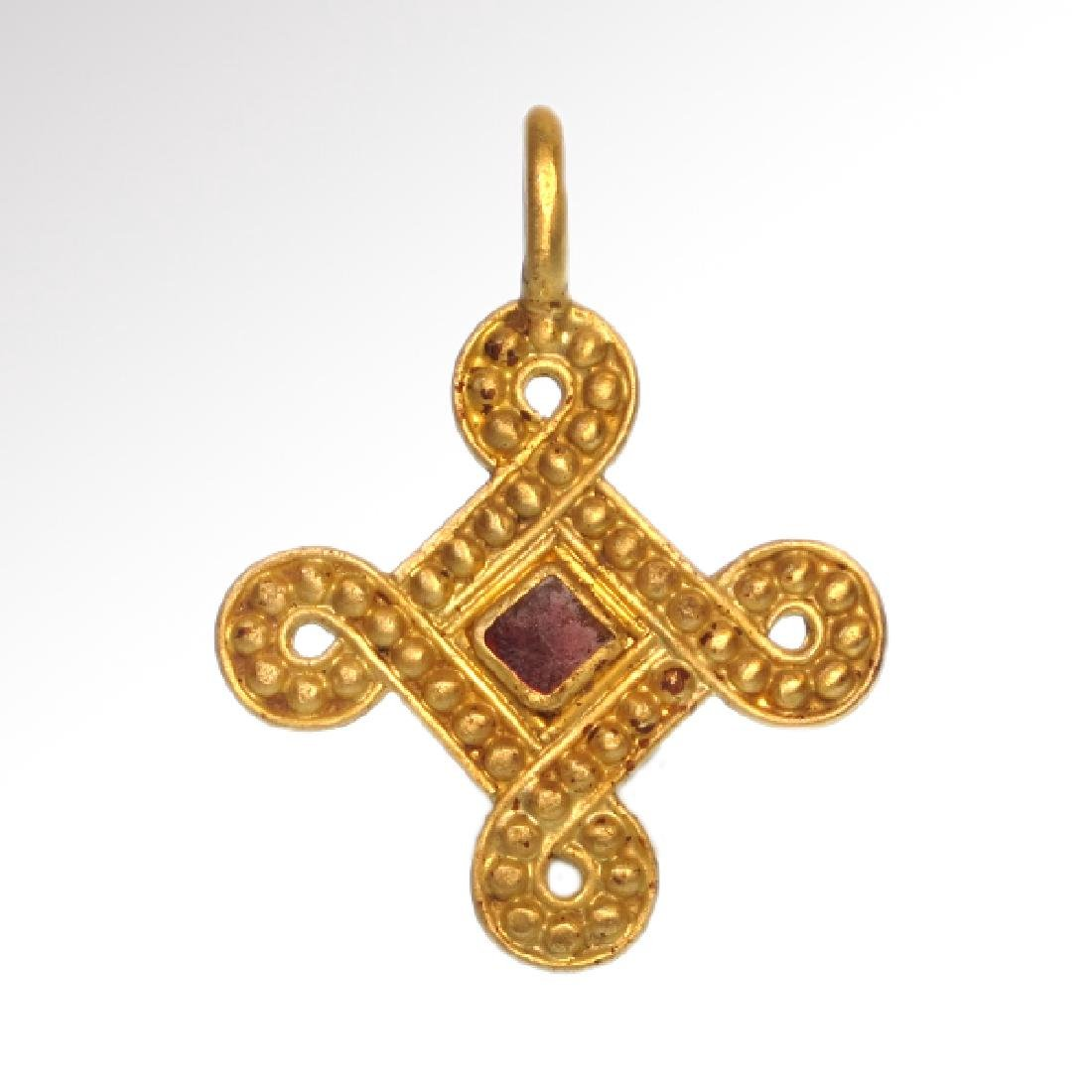Viking Entwined Gold Cross Pendant with Garnet