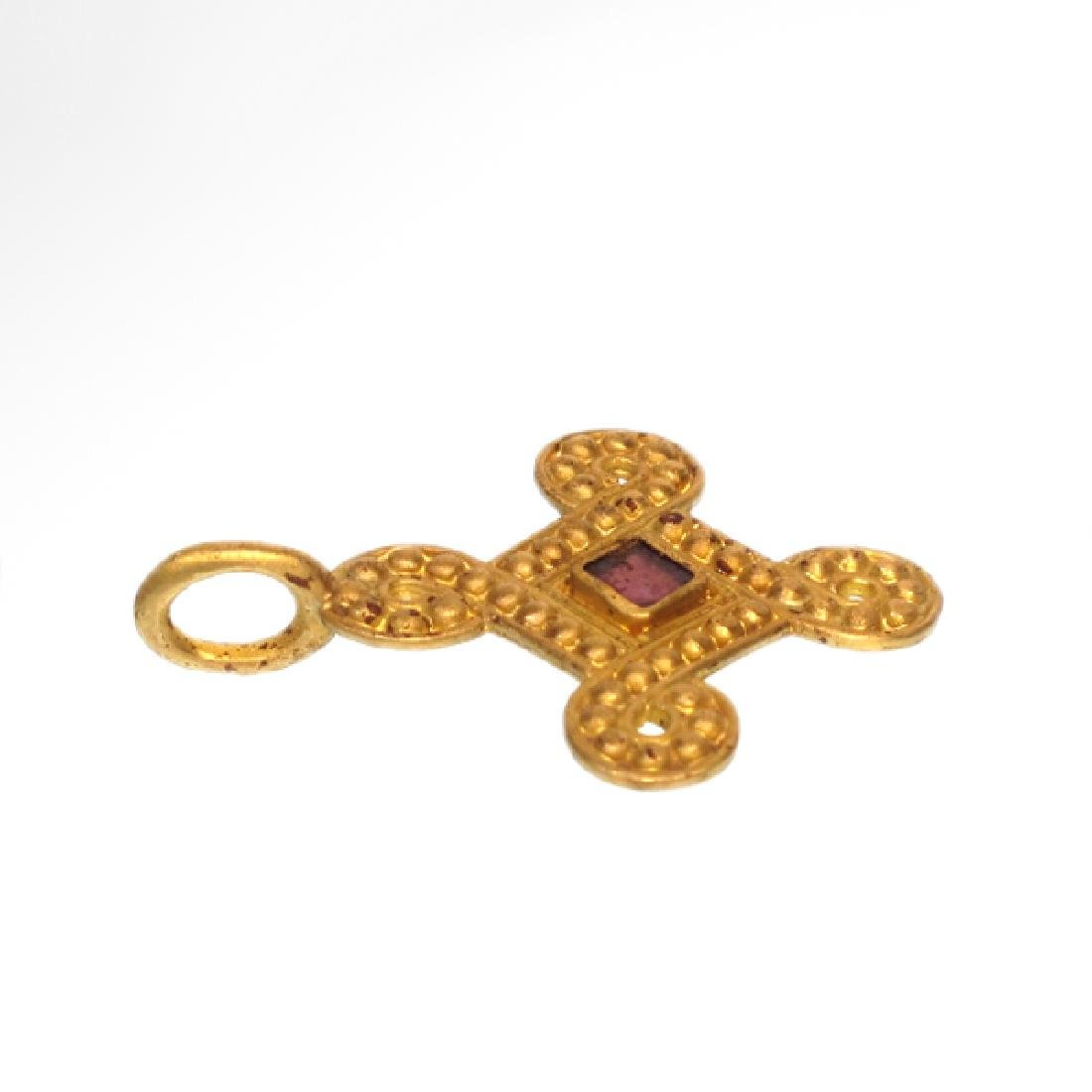Viking Entwined Gold Cross Pendant with Garnet - 2
