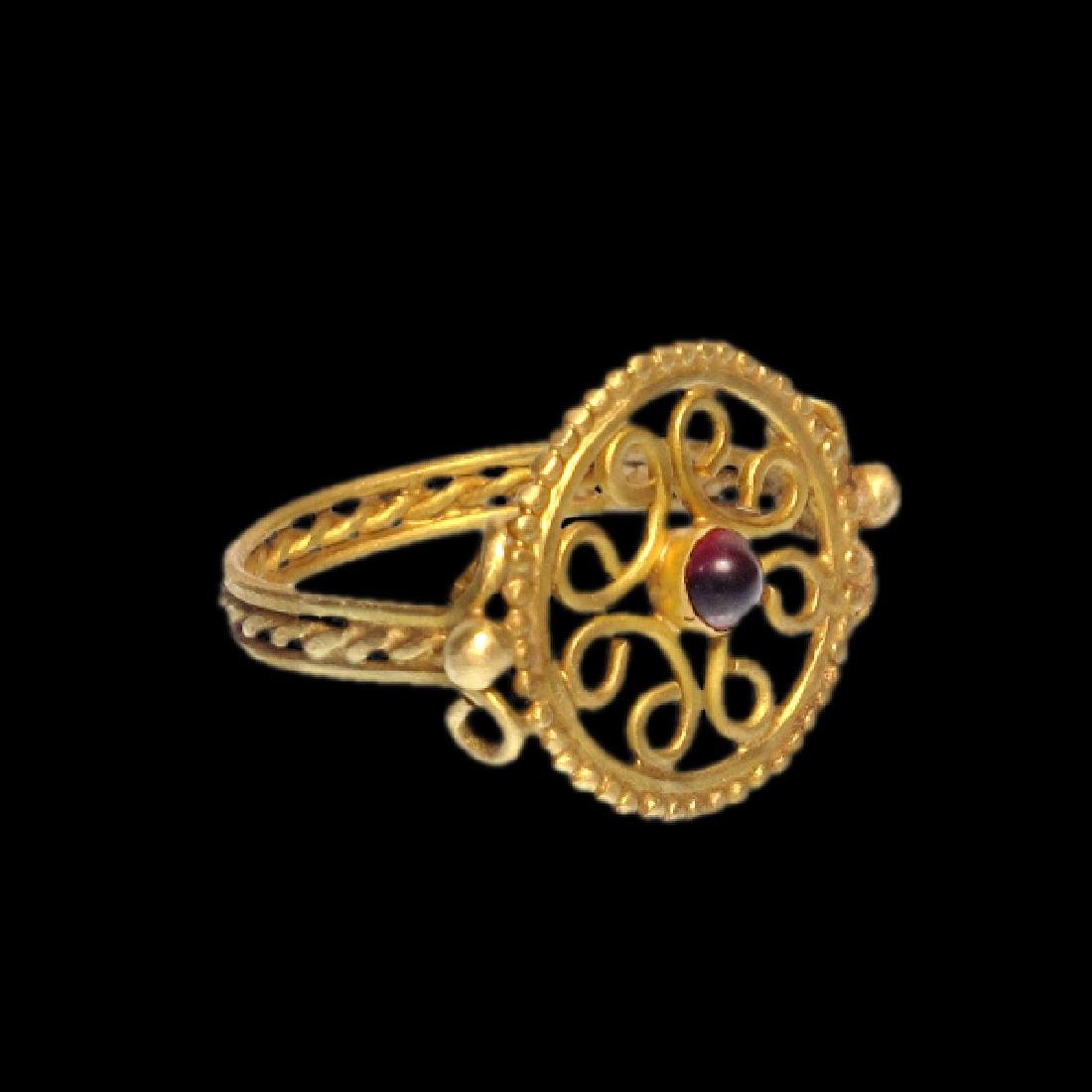 Byzantine Gold Open-Work Ring, 11th-12th Century A.D.