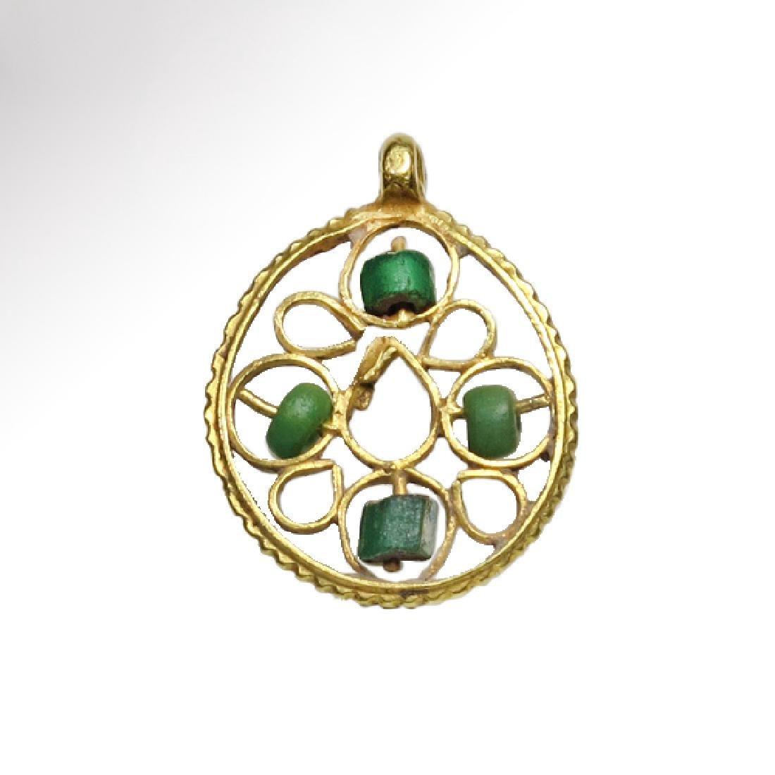 Byzantine Gold Pendant with Rosette Cross
