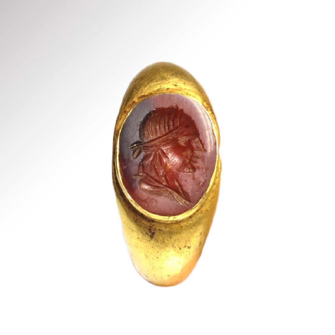 Roman Gold and Cornelian Intaglio Ring