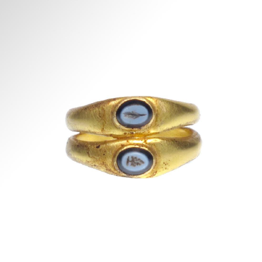 Roman Gold Double Ring, Onyx Intaglios, c. 2nd Century