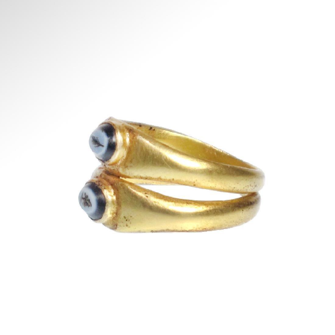 Roman Gold Double Ring, Onyx Intaglios, c. 2nd Century - 5