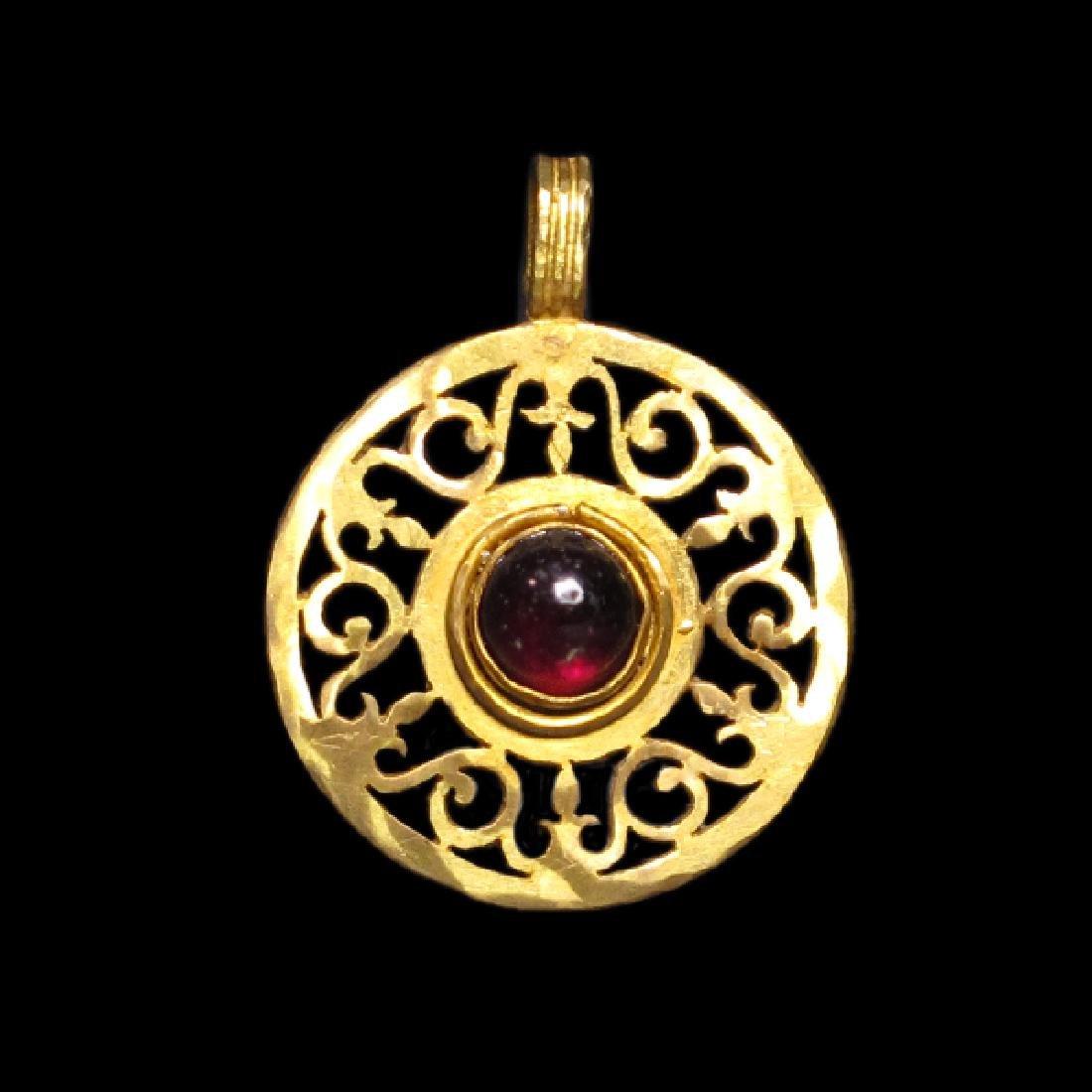 Roman Gold and Garnet Open-Work Pendant