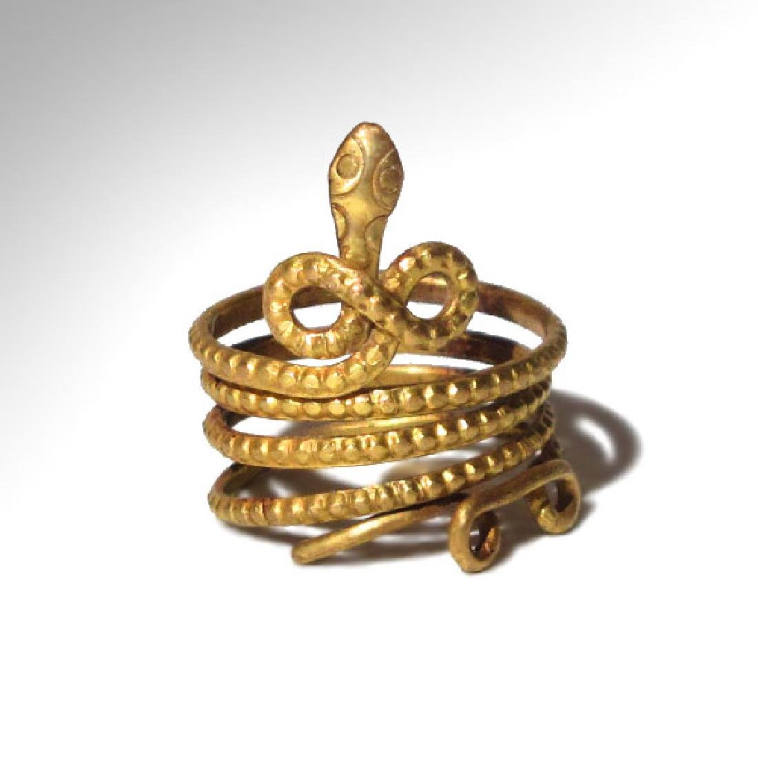 Roman Gold Snake Finger Ring, c. 1st-2nd Century A.D.