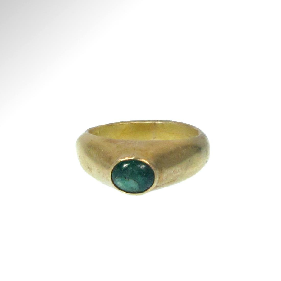 Medieval Gold and Emerald Stirrup Ring