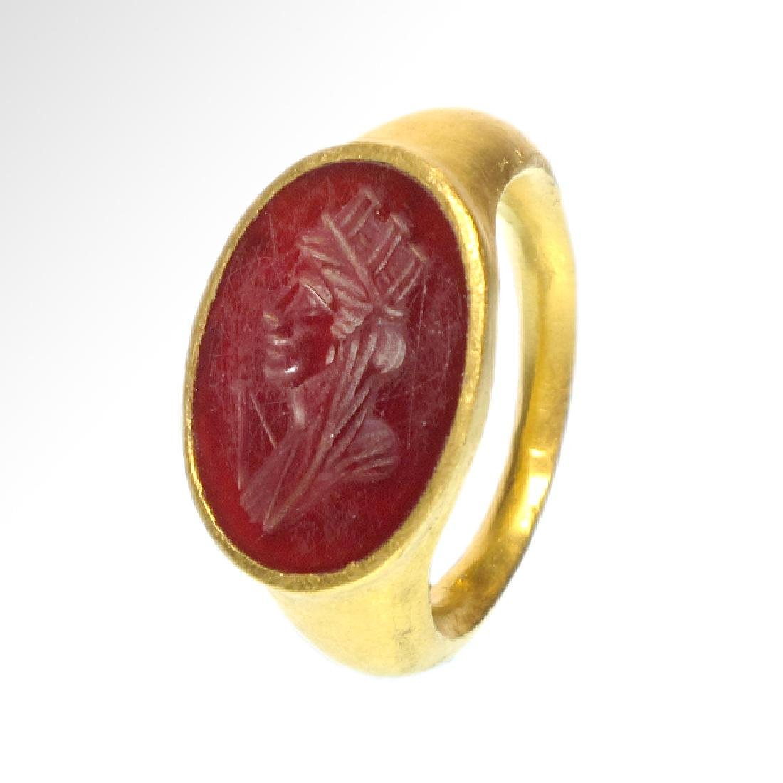 Roman Gold Ring with Head of Fortuna (Tyche) - 2