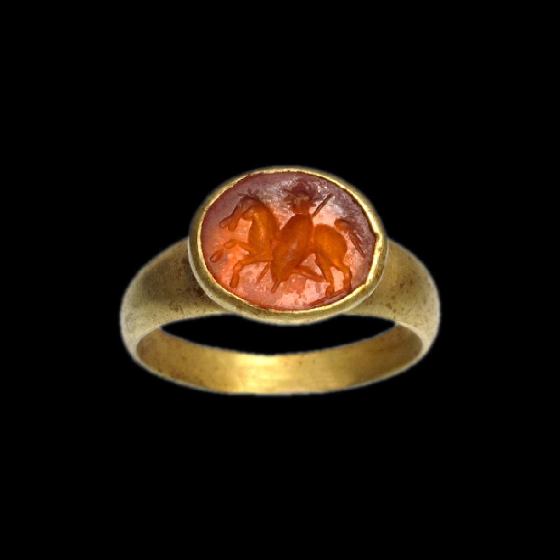 Roman Gold and Cornelian Ring with Rider