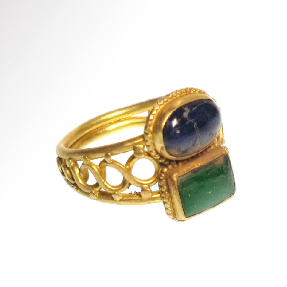 Medieval Gold, Sapphire and Emerald Ring