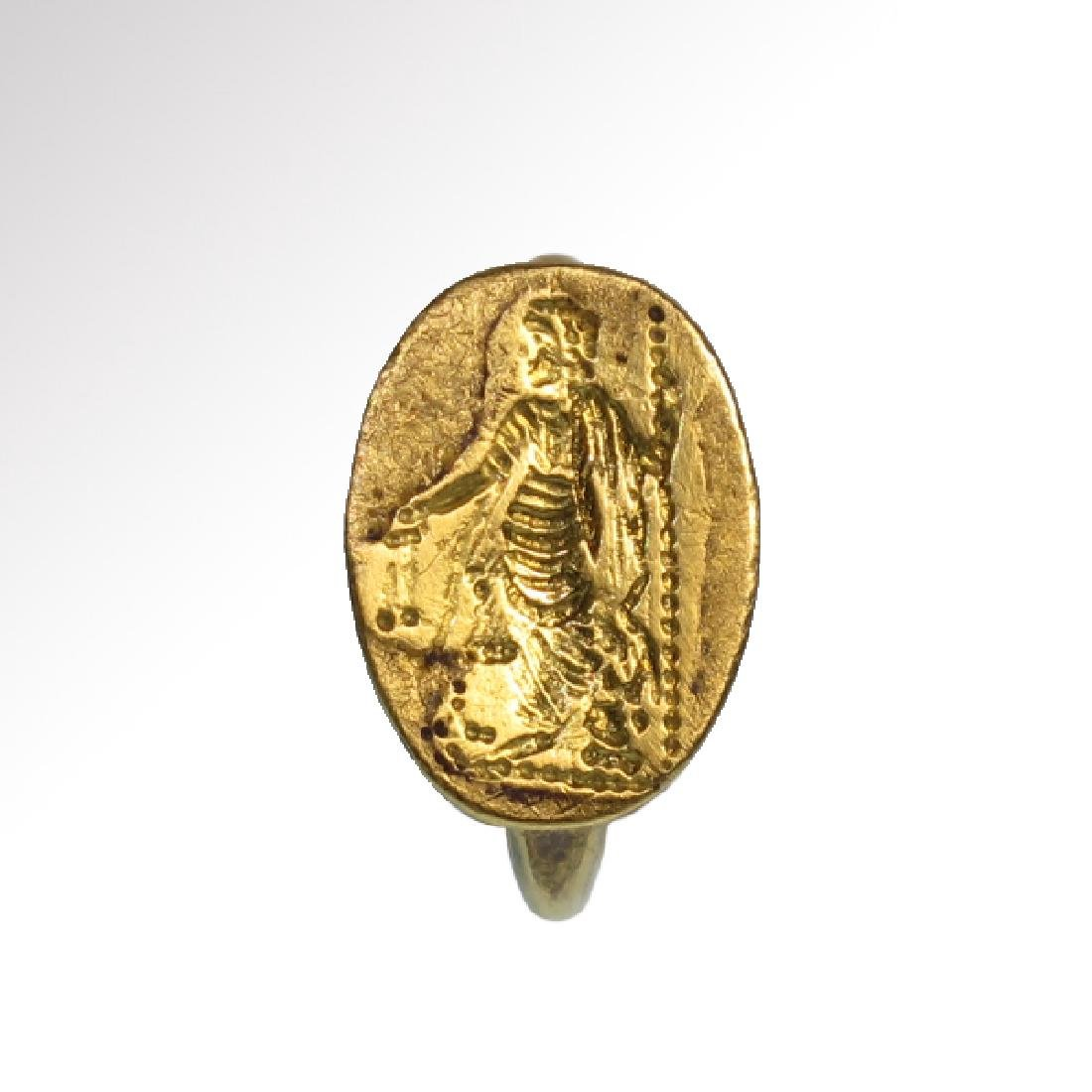Roman Solid Gold Ring with Goddess Hera, c. 2nd Century