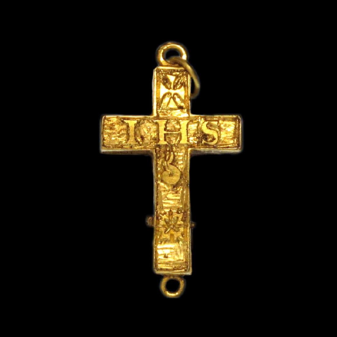 Very Fine Medieval Engraved Reliquary Gold Cross