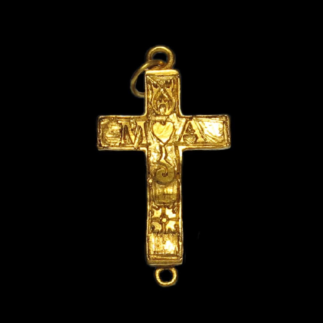 Very Fine Medieval Engraved Reliquary Gold Cross - 2