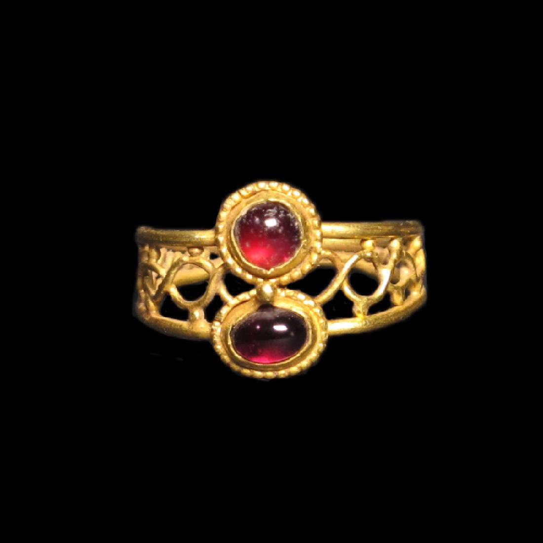 Roman Gold and Garnet Ring, c. 2nd-3rd Century A.D.